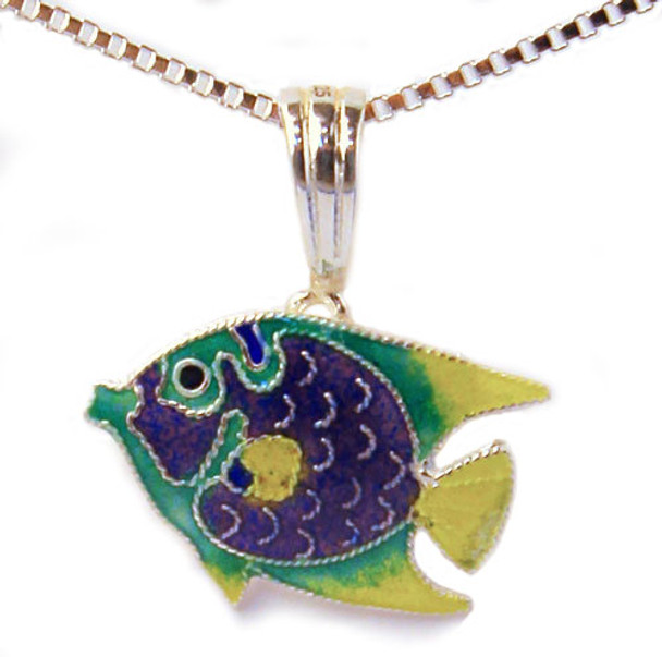Tropical Angel Fish Silver Pendant Necklace Carribean 32-40-01P