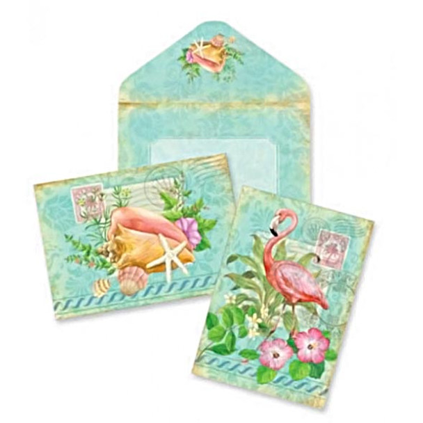 Boxed Flamingo Shells Note Cards 10 Pack