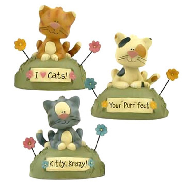 Three Kitty Krazy Cat Figurines Blossom Bucket 121-84055