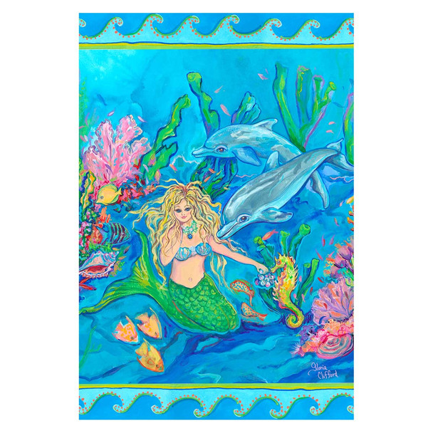 "Mermaid Ocean Dolphin Garden Flag - 12"" x 18"" - 1110198"