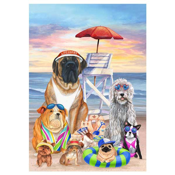 Dogs on the Beach Garden Flag - 1220FM
