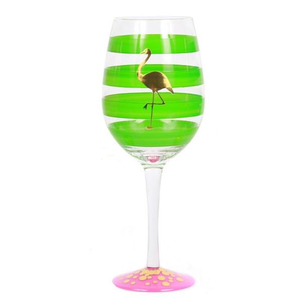 Gold Flamingo Stripe Glass Wine Glass Green 18oz - 60464G