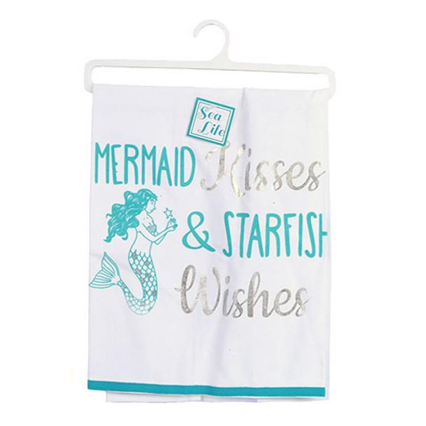 Mermaid Kisses Print Dish Towel - 25092K