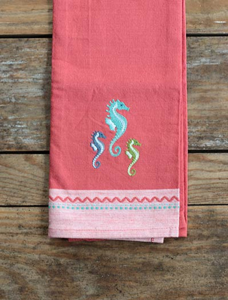 Red Seahorses Embroidered Cotton Tea Towel - 26831