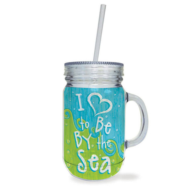 Love by the Sea Acrylic Mason Jar Travel Cup with Lid Straw - 728-02
