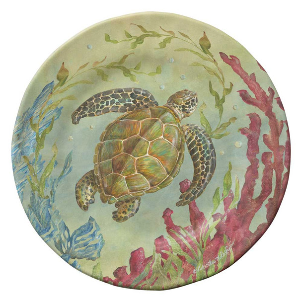 "Sea Turtle Ocean Life 7.5"" Lunch Plate Melamine 21290"