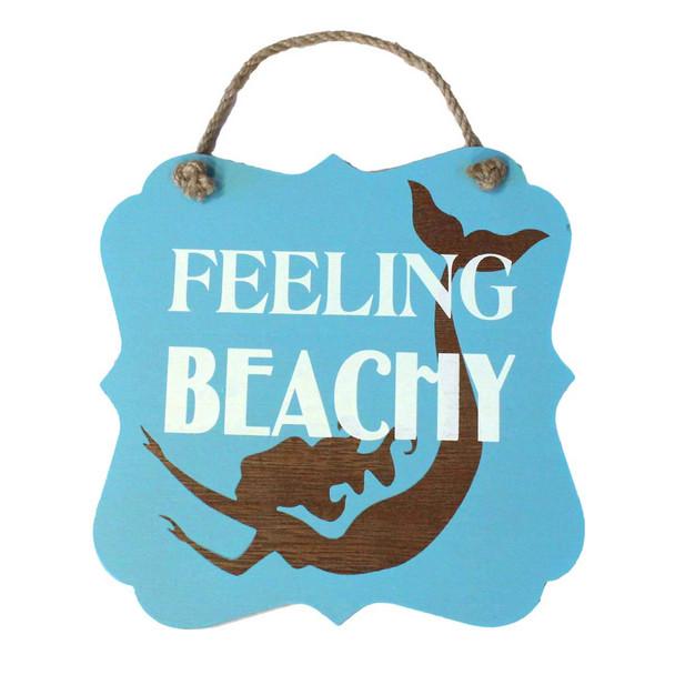 """Mermaids Feeling Beachy Wood 7"""" x 7"""" Sign - 16264FEEL"""