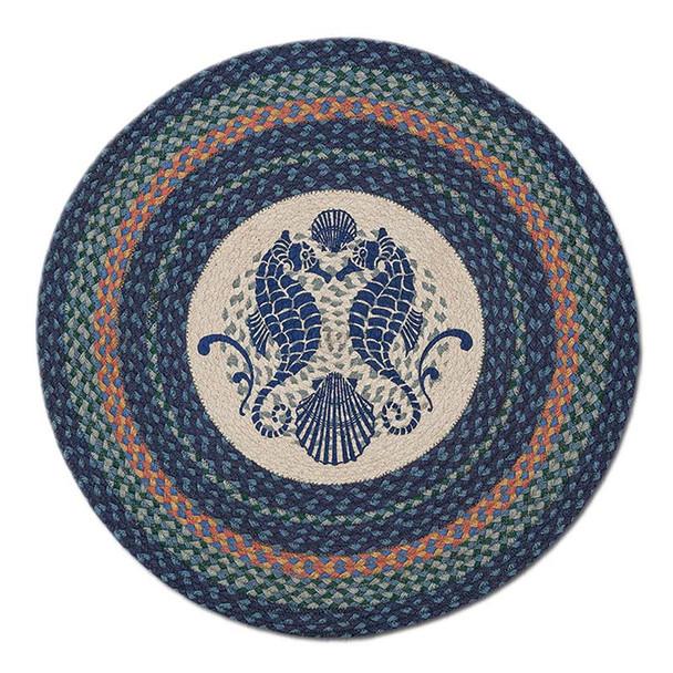 "Seahorse 27"" Hand Printed Round Braided Floor Rug RP-453"