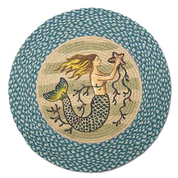 """Mermaid 27"""" Hand Printed Round Braided Floor Rug RP-245"""