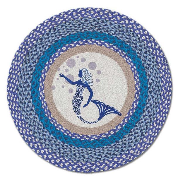 """Blue Mermaid 27"""" Hand Printed Round Braided Floor Rug RP-527"""