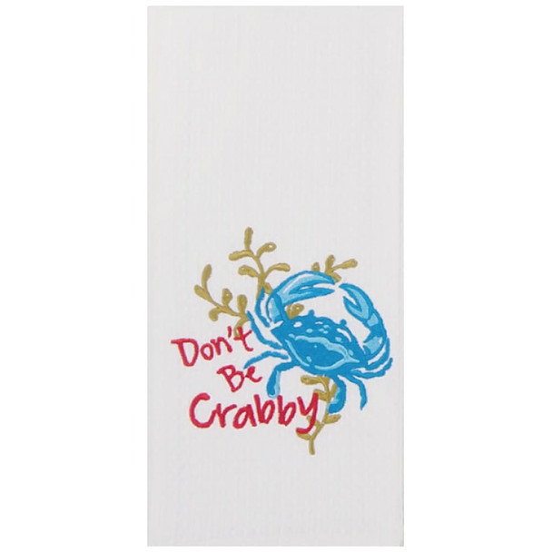 Crabby Embroidered Waffle Towel F0731