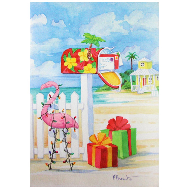 Christmas Cards Pink Flamingo at the Mailbox - Box of 10 - C74714