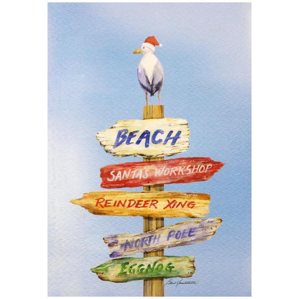 Beach Sign Christmas Cards 10 Box C74709