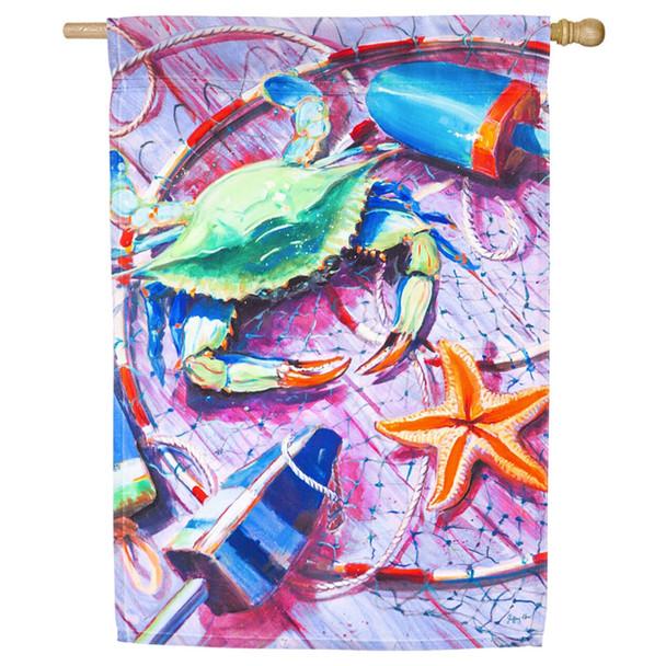 "Summer Catch Satin House Flag- 29""x 43""- 13A4477"