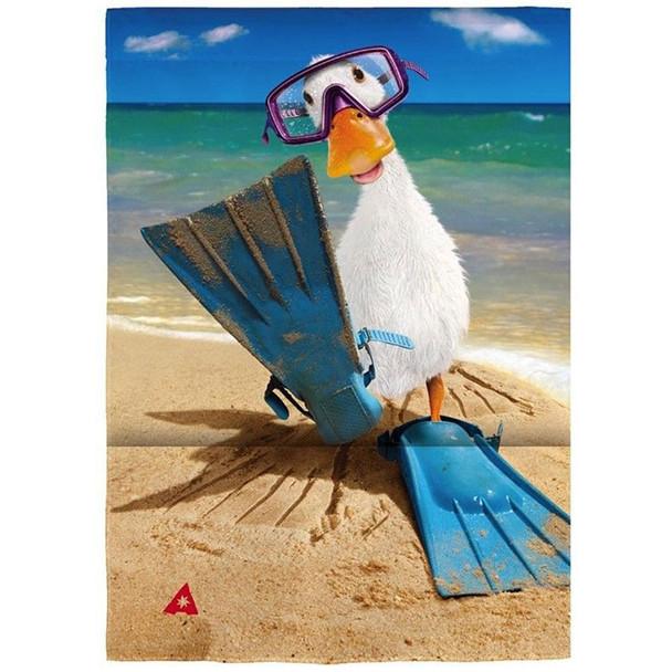 """Duck Wearing Flippers Satin Garden Flag - 12""""x 18""""- 14A4439"""