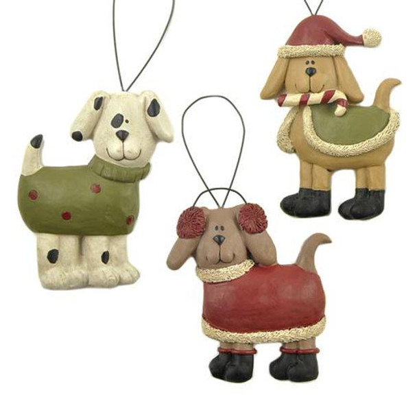 Three Candy Cane Dog Ornaments Blossom Bucket 138-51501