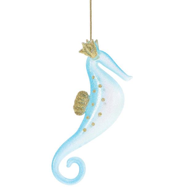 Sparkles Seahorse Beach Glass Ornament Blue 4057727B