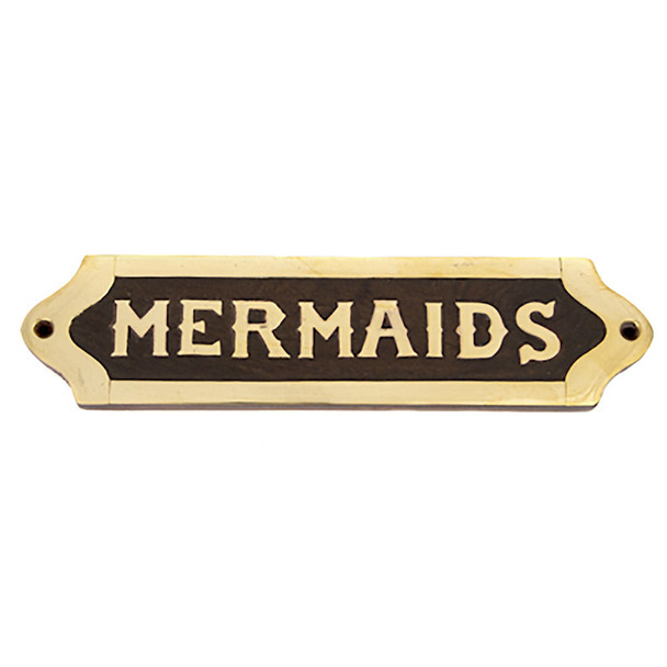 WOOD AND BRASS MERMAIDS PLAQUE