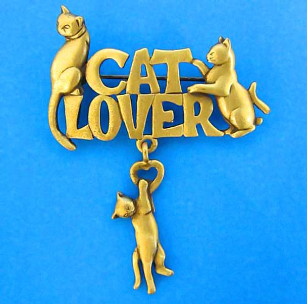 Cat Lover Pin Pewter Gold 1550PPG