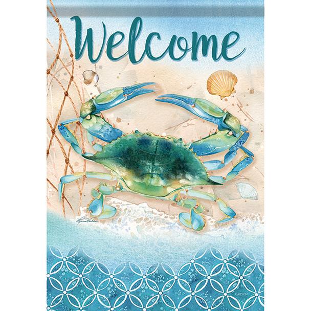 """Indigo Crab Welcome Garden Flag - 12.5"""" x 18"""" - 46467"""