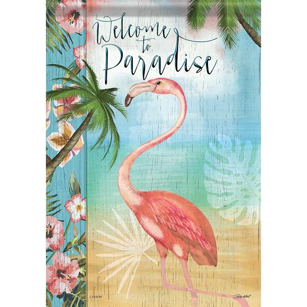 "Welcome to Paradise - Flamingo Garden Flag - 12.5"" x 18"" - 46468"