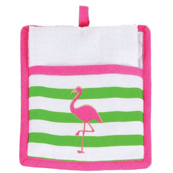Flamingo Pot Holder with White Towel Gift Set - 60586B