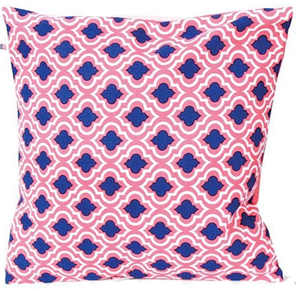 Coral and Blue Patterned Accent Pillow -10656A