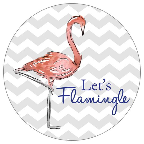 Lets Flamingle Pink Flamingo- Stone Car Coaster