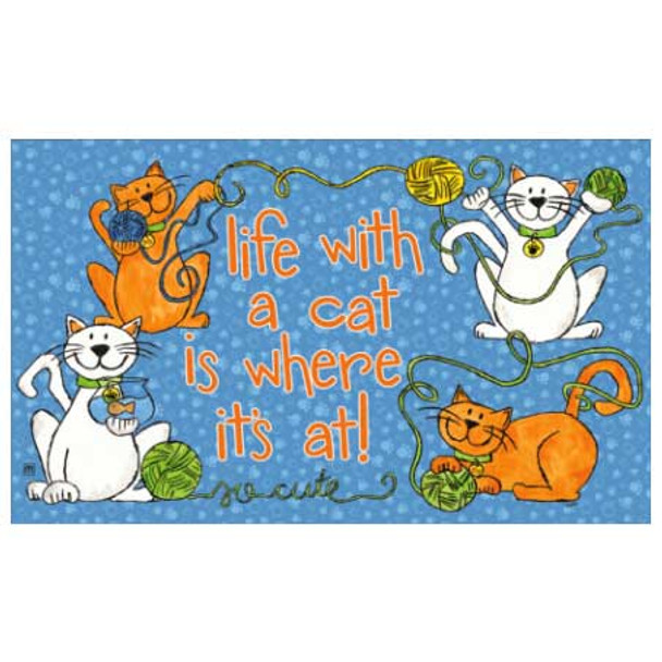 "Cat Theme Floor Mat ""Life with Cat"" - 18814D"
