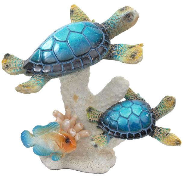 Blue Sea Turtles on Coral