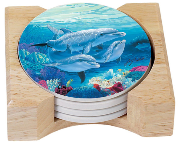 Dolphin Family Absorbent Stone Coasters - Set of 4 - Wood Tray