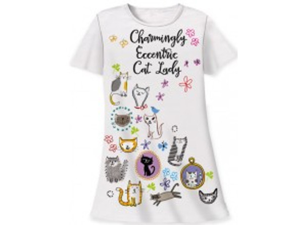 "Cat Theme Sleep Shirt Pajamas ""Charmingly Eccentric Cat Lady"" 343OT"