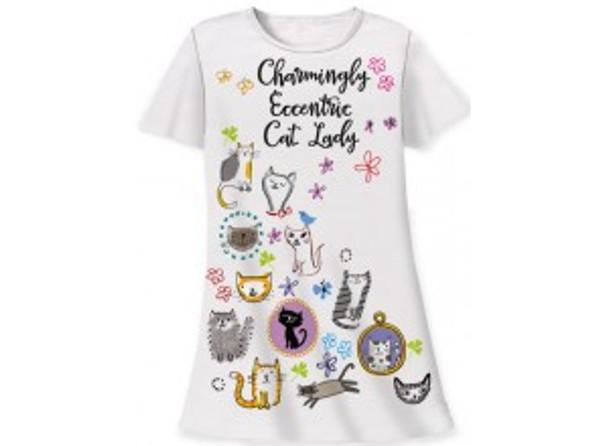"Cat Theme Sleep Shirt Pajamas ""Charmingly Eccentric Cat Lady"" 343OT"