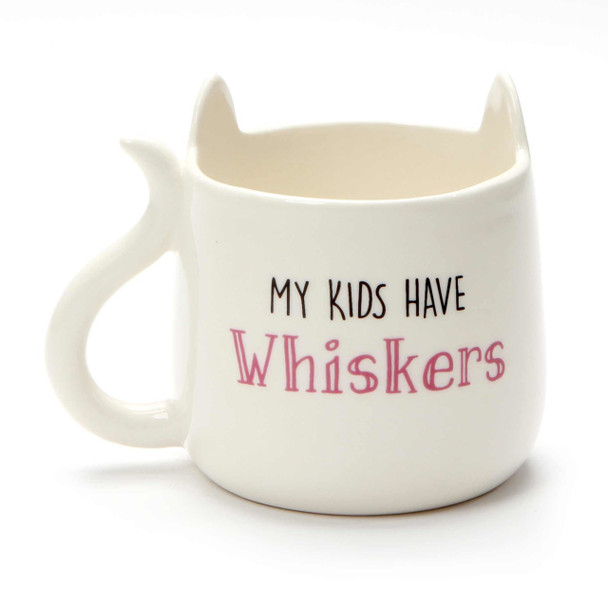White Cat Mug - My Kids Have Whiskers - Back