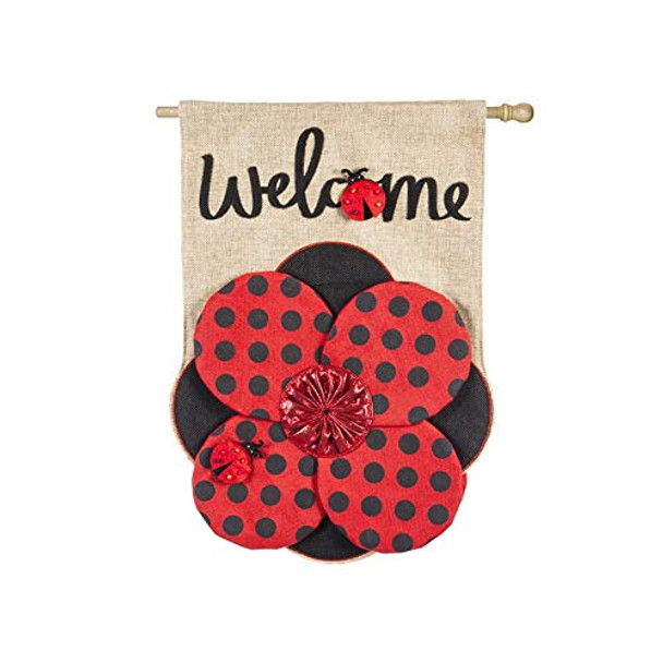 Ladybug Welcome Burlap House Flag - 27.5 x 44in - 13B8357BL
