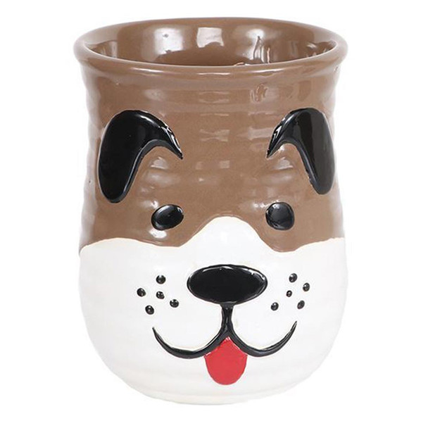 Dog Sculpted Cozy Hand Coffee Mug - TAN and WHITE - 18oz - 40014A