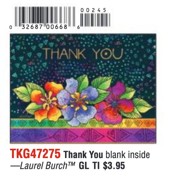 Laurel Burch Floral Thank You Card - 47275