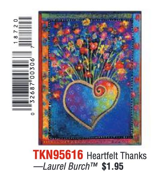 Laurel Burch Heartfelt Thanks - Thank You Card - 95616