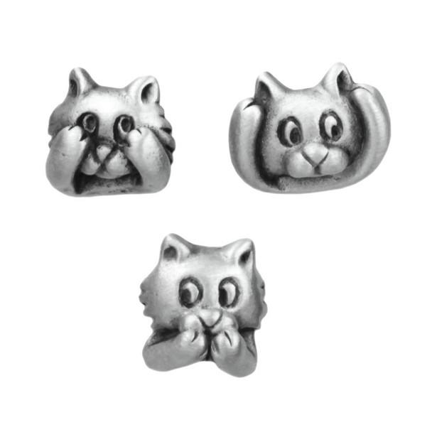 "Cat Pins ""No Evil"" Set of 3 Pewter - 2089tp"