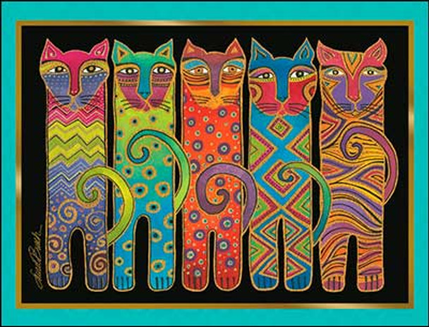 Laurel Burch Tall Cats - 8 Pack of Notecards with Envelopes - 35580