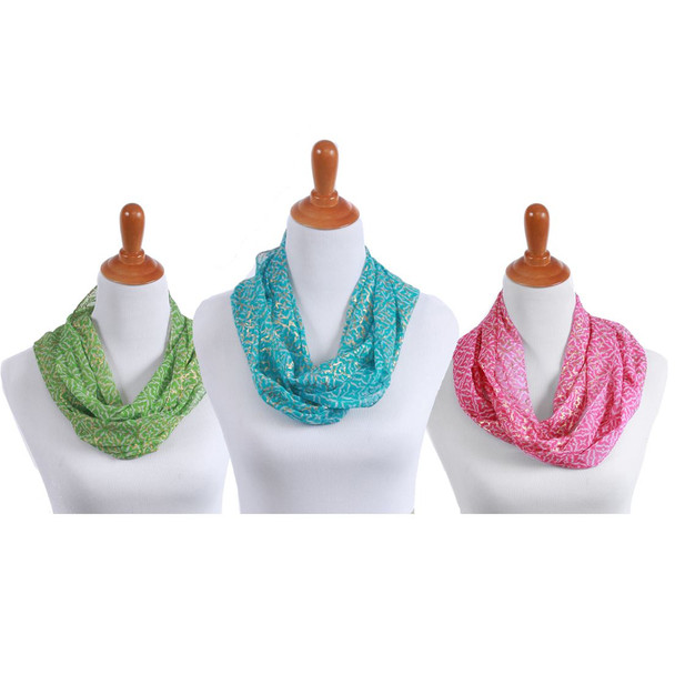 Viscose Infinity Scarf with Metallic Thread - 3 Assorted Colors - 60616