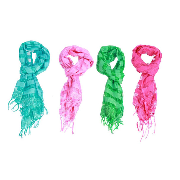 Fringe Wrap Scarf with Stripes and Sequin Embellishments - 4 Colors Available - 60712