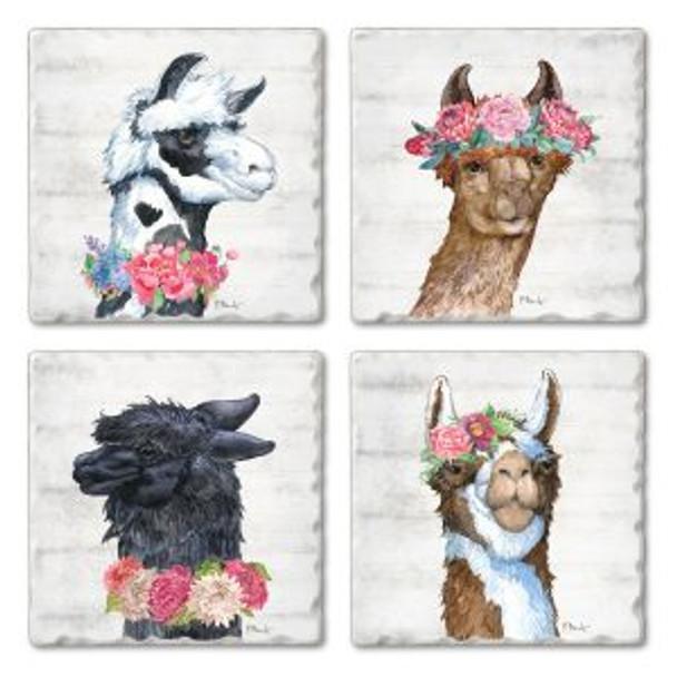 Llama Bloom Tumbled Tile Coaster Set of 4  -  05-01512