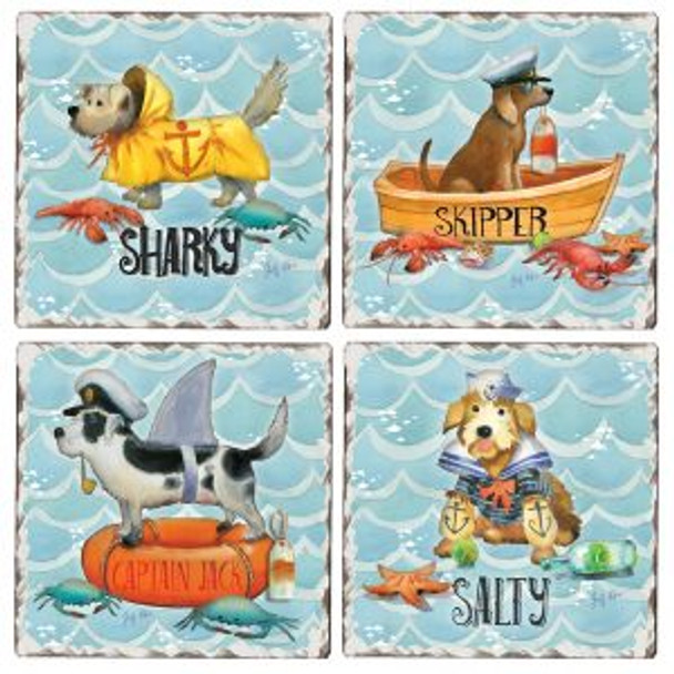 Salty Dogs Tumbled Tile Coaster Set of 4  -  88582