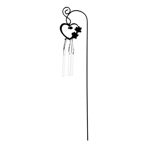 Cat Paw Print 12-inch Garden Stake Wind Chime- ZSK2W-E-HEART