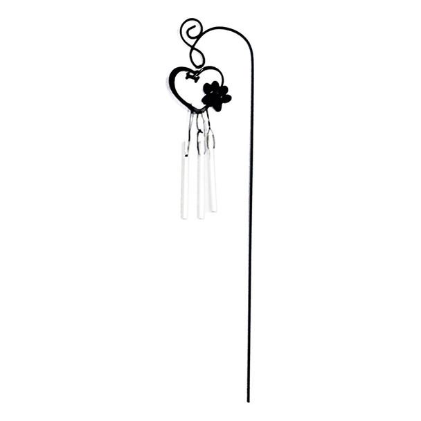 Dog Paw Print 12-inch Garden Stake Wind Chime- ZSK2W-F-HEART