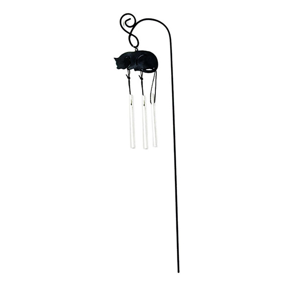 Laying Cat 12-inch Garden Stake Wind Chime