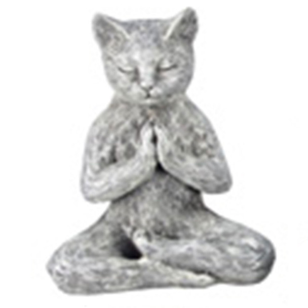 Yoga Cat Figurine - Lotus Prayer  Pose - 18732D