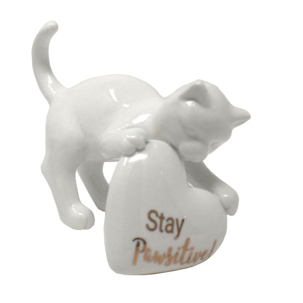 Ceramic Cat with Heart Figurine - Stay Pawsitive