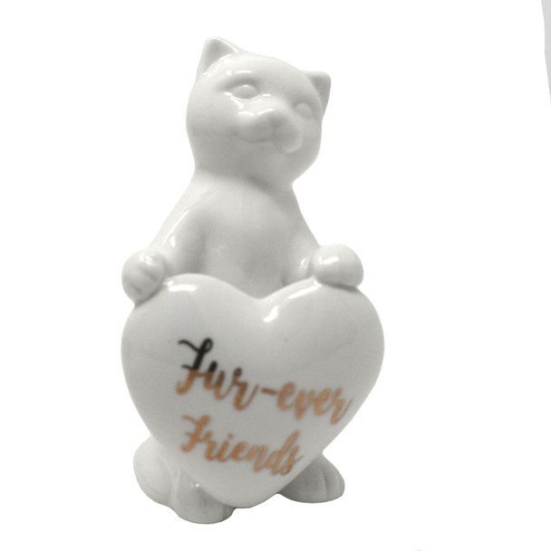 Ceramic Cat with Heart Figurine - Fur-ever Friends